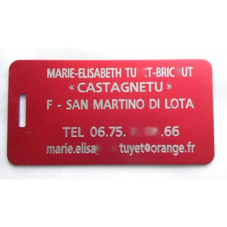plaque d'identité bagage GRAVURE 1 face ft 50x100 mm