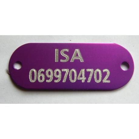 PLAQUE Médaille identification violet à riveter Chien Chat gravure 1 face