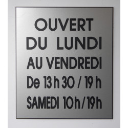 plaque horaire ouverture magasin personnalis e. Black Bedroom Furniture Sets. Home Design Ideas