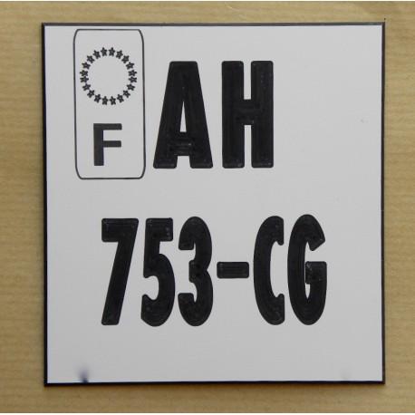 plaque immatriculation moto 10x10 personnalisable non homologu. Black Bedroom Furniture Sets. Home Design Ideas