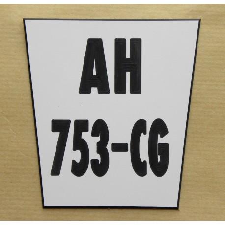 plaque gravée style immatriculation ft 8,5x9 Trapézoidale moto tout terrain KTM